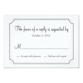 Cartão elegante da resposta do quadro convite 8.89 x 12.7cm