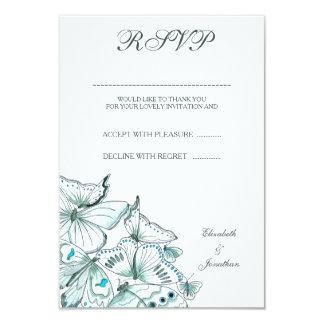 Cartão elegante das borboletas RSVP de turquesa Convite 8.89 X 12.7cm