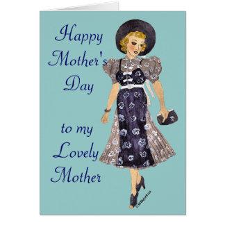 cartão elegante do dia das mães da senhora