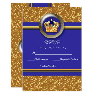 Cartão elegante do evento RSVP do ouro & da coroa