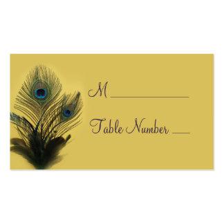 Cartão elegante do lugar do pavão (amarelo) cartão de visita