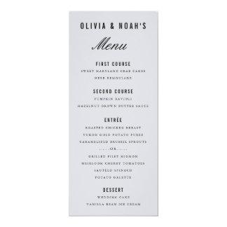 Cartão elegante do menu do casamento do borrão convite 10.16 x 23.49cm