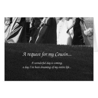 Cartão elegante do pedido da dama de honra do prim