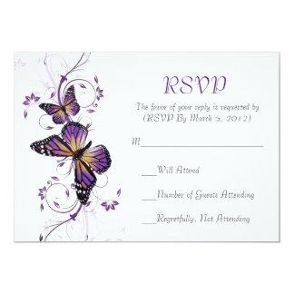 Cartão elegante dos redemoinhos RSVP da borboleta Convite 12.7 X 17.78cm