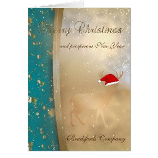 Cartão Elegante Falso Ouro Natal Cervo Papai noel Chapéu,