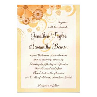 Cartão Elegante floral do hibiscus do ouro e do pêssego