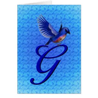 Cartão elegante inicial do Bluebird de G do