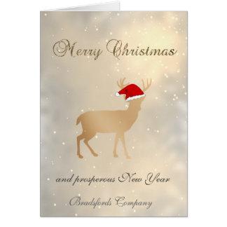 Cartão Elegante na moda, chapéu do papai noel dos cervos