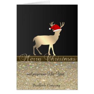 Cartão Elegante, Natal Cervo Papai noel Chapéu, Glittery,