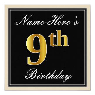 Cartão Elegante, preto, aniversário do ouro do falso 9o +