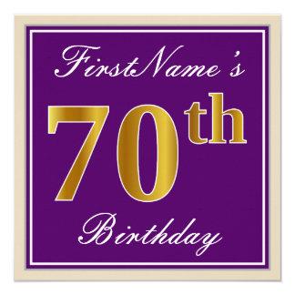 Cartão Elegante, roxo, aniversário do 70 do ouro do falso