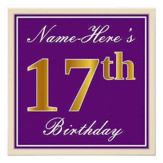 Cartão Elegante, roxo, aniversário do ouro do falso 17o +