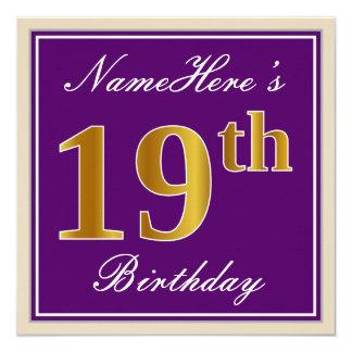 Cartão Elegante, roxo, aniversário do ouro do falso 19o +