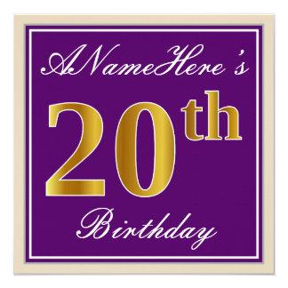 Cartão Elegante, roxo, aniversário do ouro do falso 20o +