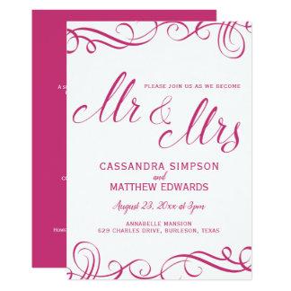 Cartão Elegante tudo em um rosa quente Wedding dos