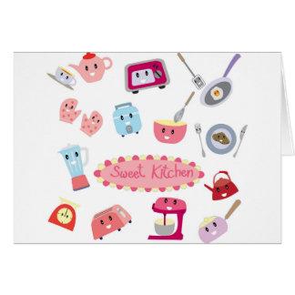 Cartão Eletricidade cor-de-rosa doce da cozinha e ícone