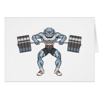 Cartão elevador de peso do buldogue