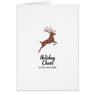 Cartão Elogio do feriado da rena da xadrez