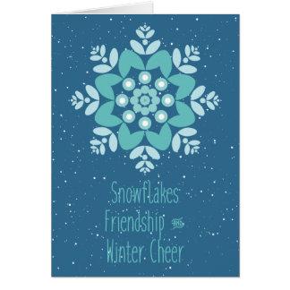 Cartão Elogio dos flocos de neve, da amizade e do inverno