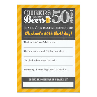 Cartão Elogios e cervejas a 50 anos • Compartilhe de um