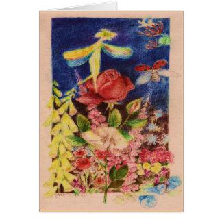 Cartão Elve da rosa vermelha