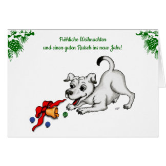 Cartão em alemão natal com filhote sino e bola