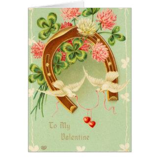 Cartão em ferradura do dia dos namorados do