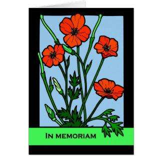 Cartão Em Memoriam, papoilas vermelhas, verso Loving das