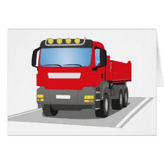 Cartão em obras vermelhas CAMIÃO COM REBOQUE