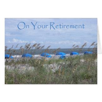 Cartão Em seu doutor da aposentadoria - praia e