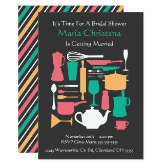 Cartão Em torno do chá de panela da cozinha