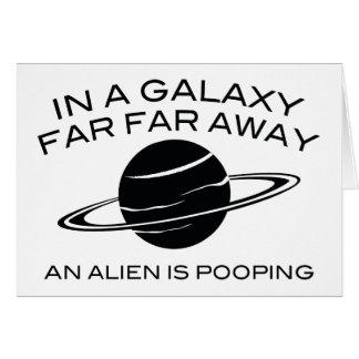 Cartão Em uma galáxia distante longe uma alienígena é