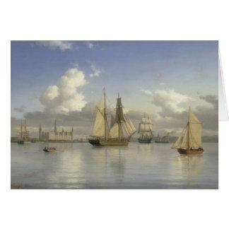 Cartão Embarcações de navigação fora do castelo de