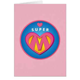 Cartão Emblema engraçado da mamã do Superwoman do