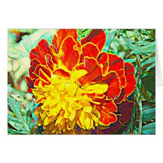 Cartão Emblema floral do cravo-de-defunto