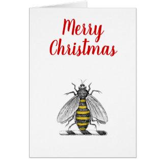 Cartão Emblema heráldico C da abelha do vintage do Xmas