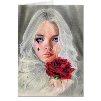 CARTÃO emocional da menina gótico do mime da rosa