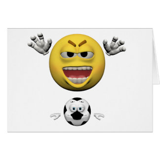 Cartão Emoticon amarelo ou smiley do futebol