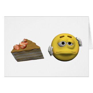 Cartão Emoticon doente amarelo ou smiley