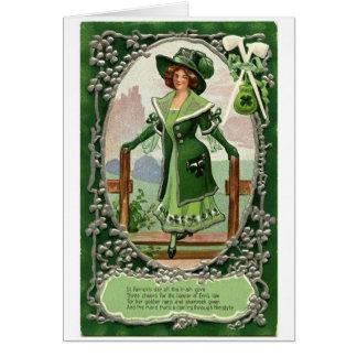 Cartão Empregada doméstica à moda do vintage de St