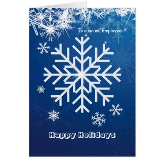Cartão Empregado do Natal do negócio - flocos de neve