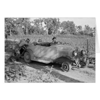 Cartão Empurrando um carro, 1939