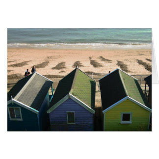 Cartão Encalhe cabanas e a foto inglesa do beira-mar dos