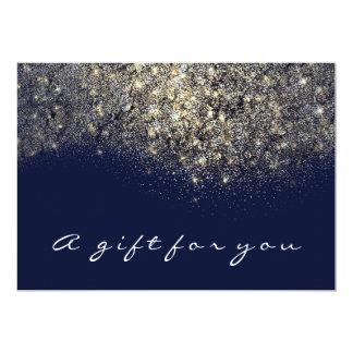 Cartão Encanto azul do marinho do brilho do ouro do Sepia