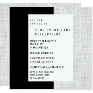 Cartão Encanto de linho geométrico mínimo preto cinzento