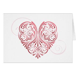 Cartão encaracolado dos namorados do coração