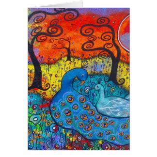 Cartão Enchanted do dia dos namorados dos pavões