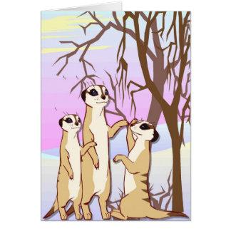 Cartão Encontre os meerkats, família na neve