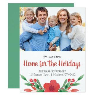 Cartão Endereço novo da foto floral do Natal da aguarela