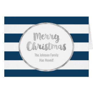 Cartão Endereço novo do Feliz Natal de prata das listras